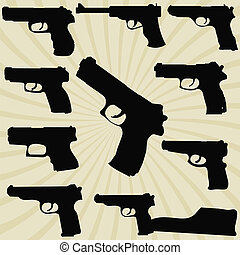 A set of silhouettes of pistols