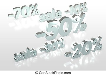 set of silver discounts on white background