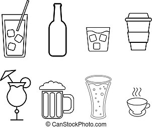 A set of simple black and white icons of alcoholic beverages for the bar, cafe: cocktails, glasses, beer, bottles, whiskey, coffee, tea on a white background. Vector illustration