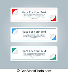 A set of simple colorful horizontal banners with place for you t