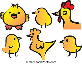 A Set of Six Cute Chickens