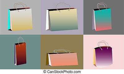 A set of six multi-colored gradient realistic bulk paper bags for purchases of different shapes and sizes with rope handles on multi-colored backgrounds and copy space. Vector illustration