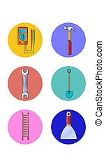 A set of six round icons for the current one with different construction tools for repairing a tester hammer wrench spade ladder putty knife on a white background. Vector illustration