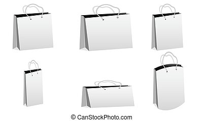 A set of six white realistic bulk paper bags for purchases of different shapes and sizes with rope handles on a white background and copy space. Vector illustration