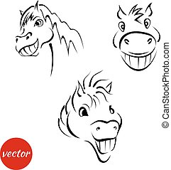 sketches of a smiling muzzle horses