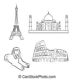 a set of sketches of famous places around the world