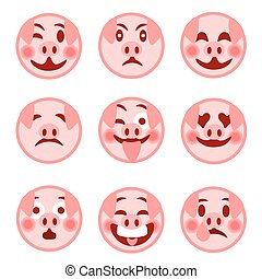 A set of smiley emoticons. Merry pig. illustration