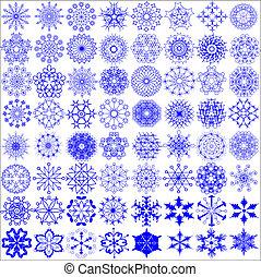 a set of snowflakes on the white