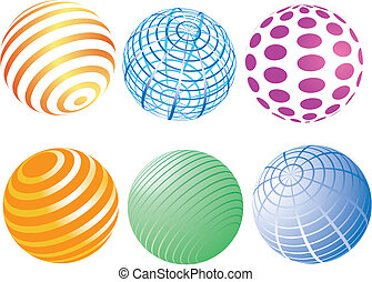 a set of spheres with colorful patt