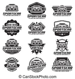 A set of Sports Car Logo template or icon