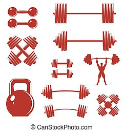A set of sports equipment, isolated on white. Barbells,...