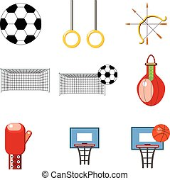 A set of sports icons on a white background