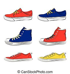 A set of sports shoes. Vector illustration.