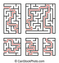 A set of square and rectangular labyrinths with entrance and exit. Simple flat vector illustration isolated on white background. With the answer.