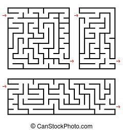 A set of square and rectangular labyrinths with entrance and exit. Simple flat vector illustration isolated on white background.