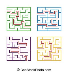 A set of square mazes for children. Simple flat vector illustration isolated on white background. With the answer.