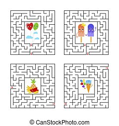 A set of square mazes. Game for kids. Puzzle for children. One entrances, one exit. Labyrinth conundrum. Flat vector illustration isolated on white background. With cartoon characters.