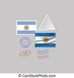 A set of stamps with the image of the flag ARGENTINA