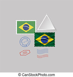 A set of stamps with the image of the flag BRAZIL.