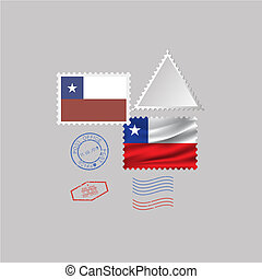 A set of stamps with the image of the flag CHILE.