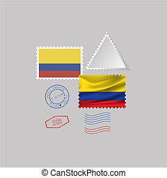 A set of stamps with the image of the flag COLOMBIA.