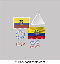 A set of stamps with the image of the flag EQUADOR.