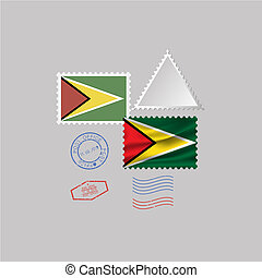 A set of stamps with the image of the flag GUYANA.