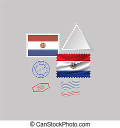 A set of stamps with the image of the flag PARAGUAY
