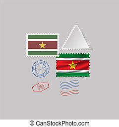 A set of stamps with the image of the flag SURINAME .