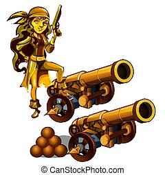 A set of statues of a girl pirate made gold isolated on a white background. A cannon with cannonballs. Vector illustration.