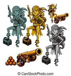 A set of statues of a girl pirate made of stone and gold isolated on a white background. A cannon with cannonballs. Vector illustration.