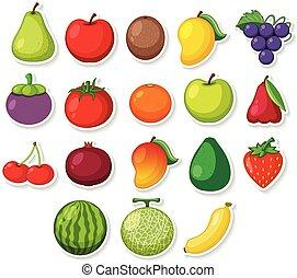 A set of sticker fruit