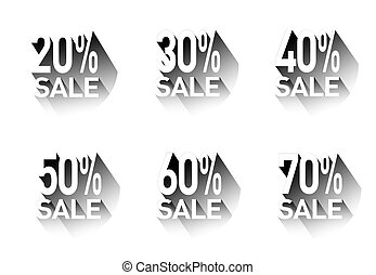 A set of stickers with discounts.Vector