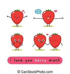 a set of Strawberry mascot. Vector Illustration