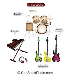 A Set of String Combo Music Equipment - Illustration Brown...