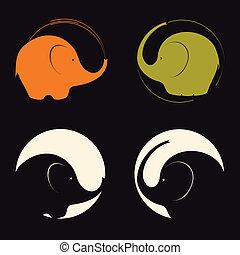elephants - A set of stylized elephants