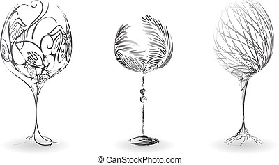 A set of stylized outline of wine glasses - Set stylized...