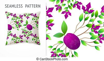 A set of summer seamless multicolor fruit and flowers patterns, demonstrated on textile pillow. Can be used for embroidery, print or silkscreen on fabric.