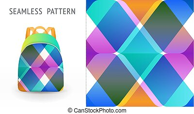 A set of summer seamless multicolor memphis patterns, demonstrated on textile backpack. Can be used for embroidery, print or silkscreen on fabric.