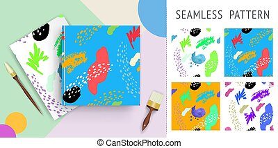 A set of summer seamless unique abstract hand-drawn patterns. Can be used for embroidery, print or silkscreen on fabric.