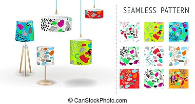 A set of summer seamless unique abstract hand-drawn patterns, demonstrated on textile lampshades. Can be used for embroidery, print or silkscreen on fabric.