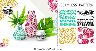 A set of summer seamless unique abstract patterns, demonstrated on ceramic vase. Can be used for embroidery, print or silkscreen on fabric.
