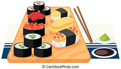 A set of sushi on plate