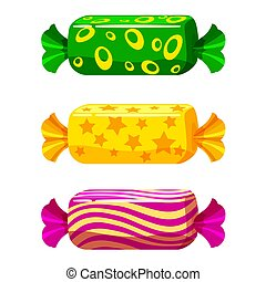A set of sweet candies in a package of different colors, vector. Illustration of cartoon style, isolated