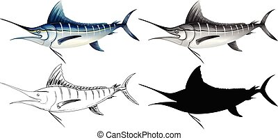 A set of swordfish illustration