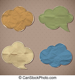 A set of templates of old crumpled paper. Vector 