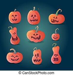 set of terrible pumpkins on a dark background.