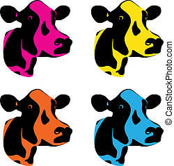 cow heads - a set of three coloured cow heads