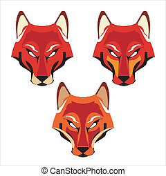a Set of Three Different Fox Heads - suitable for your...