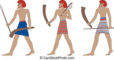 A set of three historic Egyptian soldiers. Warriors of Pharaonic times. Isolated on white background
